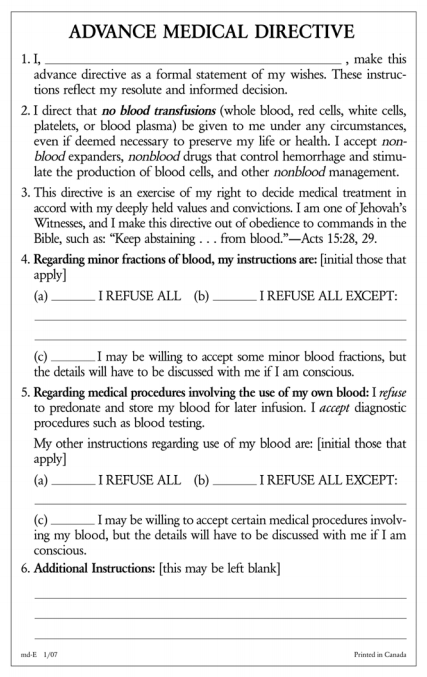 Watchtower No Blood Card – Advance Directive Form